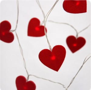 red felt heart LED indoor light chain