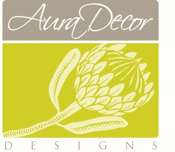 AuraDecor Designs logo with protea image