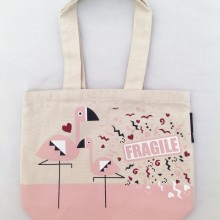 Tote Bag Fragile Flamingo print
