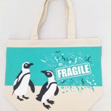 Canvas Tote Bag Fragile Penguin print