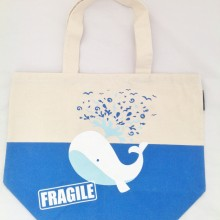Canvas Tote Bag Fragile Whale Print