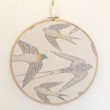 Embroidered Swallow Hoop Wall Art