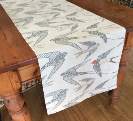 Hand Printed Fabric Table Runner – 'Swallows'