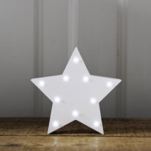 White Wooden Star Light – Battery Operated LED