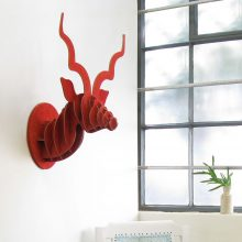 Red Suede Wall Mounted Kudu Head