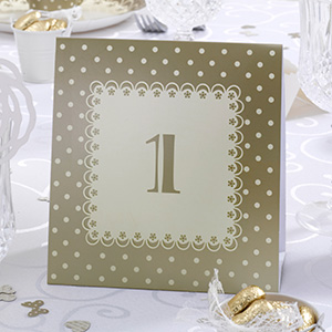 Cream and Gold Number Tent Table Number