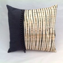 Tan & Black Stripe Cushion with beads