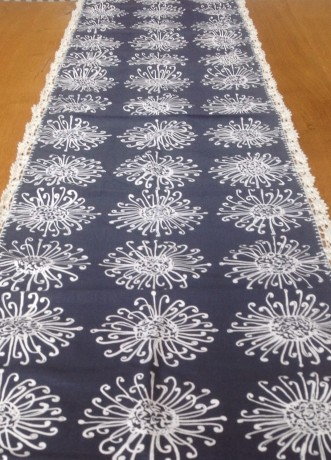 Grey Table Runner with Crochet Lace Edging